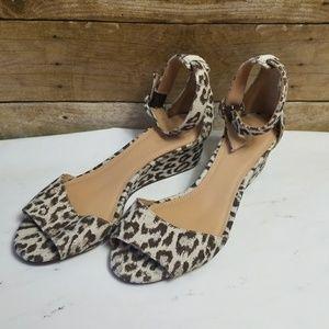 J.Crew Women's Laila Wedges Leopard Print Animal